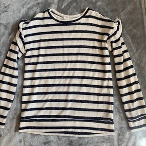 GapKids striped sweater with shoulder ruffle